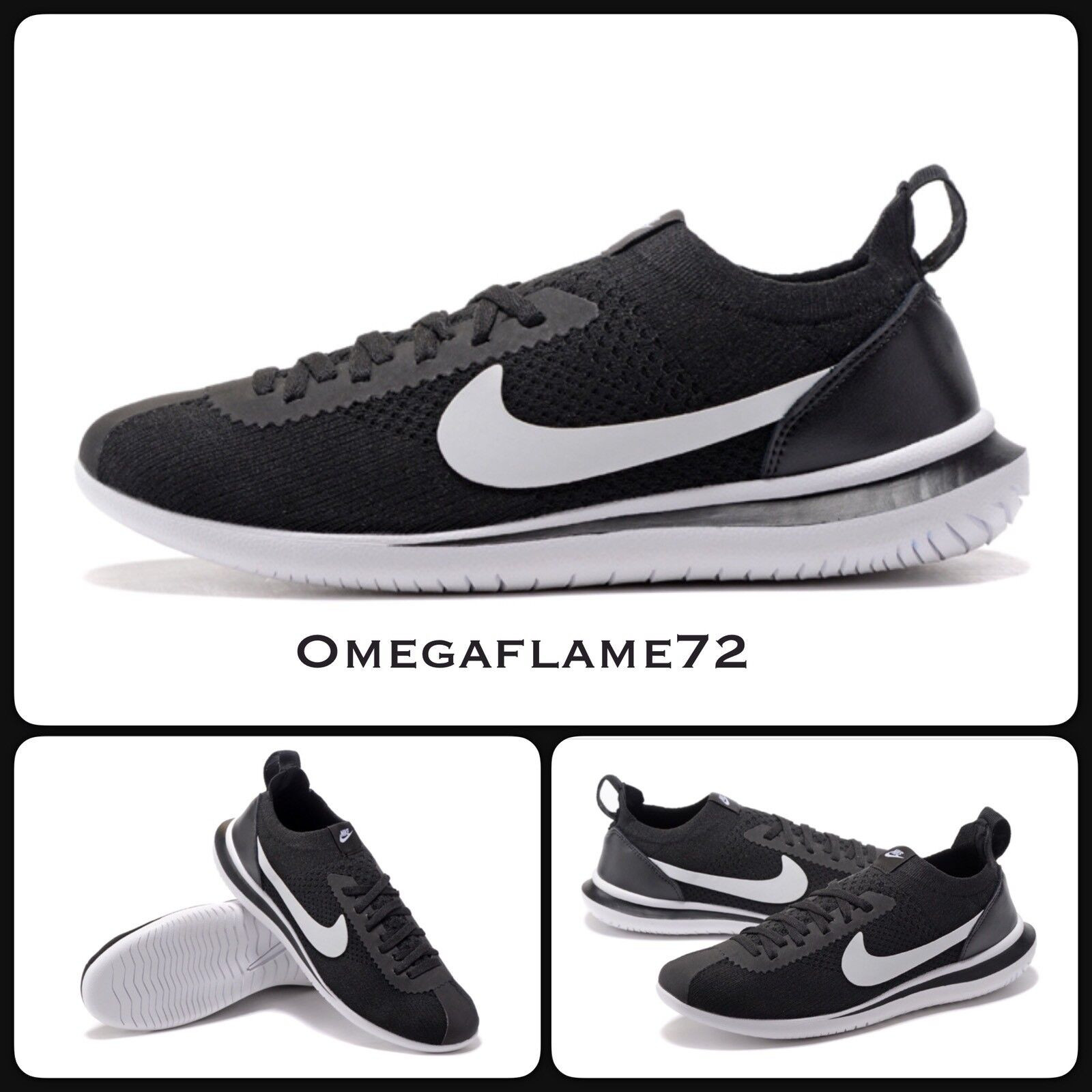 Nike Cortez Flyknit QS, noir & blanc AA2029-001,11, EU 46, US 12