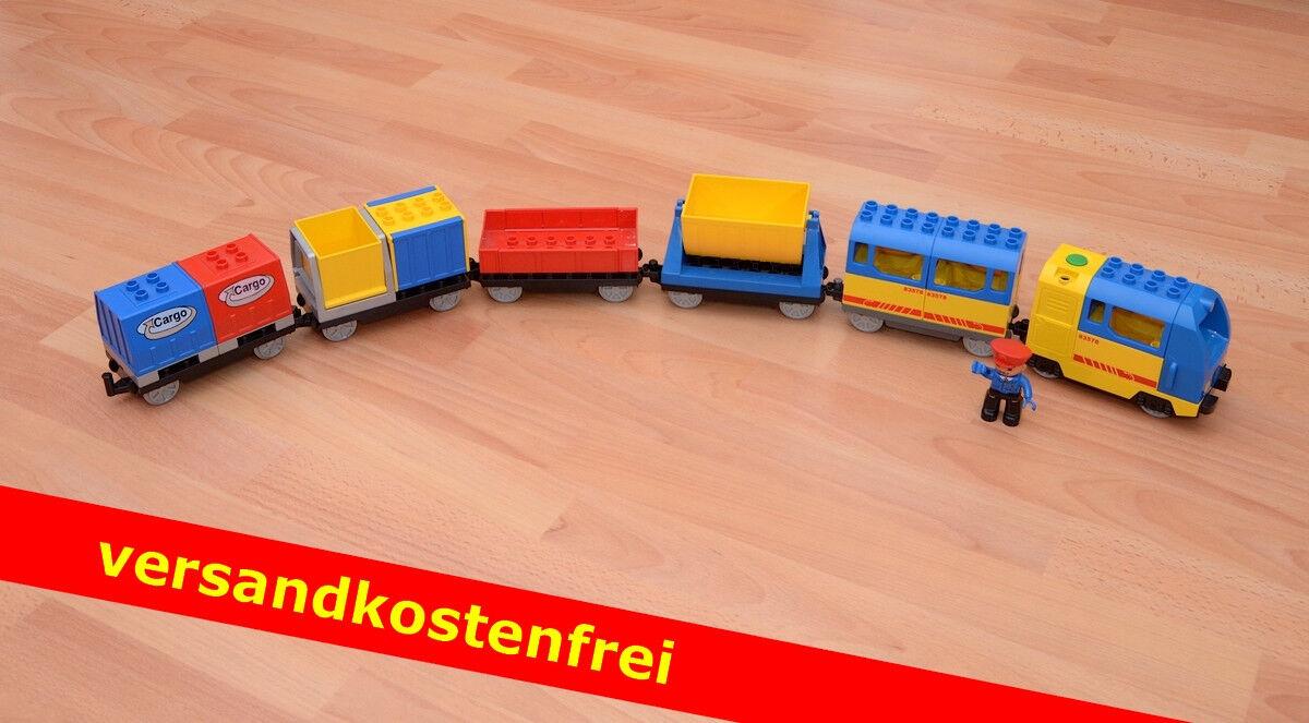 LEGO Duplo-Ferrovia elettrica, con 5 grandi vagoni e personaggio-porto franco
