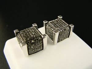 Ice Cube Block Mens Black Diamond Stud Earrings 9 Mm