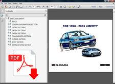 SUBARU LIBERTY 1998 1999 2000 2001 2002 2003 FACTORY SERVICE REPAIR FSM MANUAL