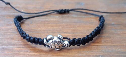 Armband Makramee Schildkröte Silber Bandfarbe wählbar Geschenkidee Geschenk