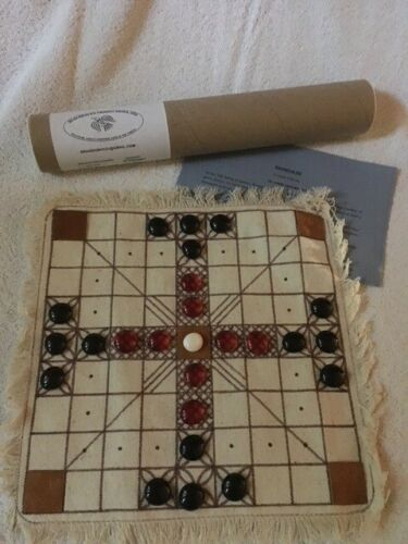 Hnefatafl Brandub and Tablut hand crafted game board with glass game pieces