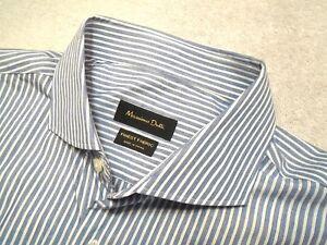 Massimo-Dutti-Blue-amp-White-Striped-Pattern-100-Cotton-Sport-Shirt-NWT-XL-18