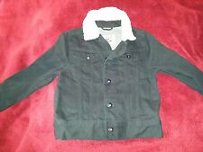 Shaun White Black Denim Button Up Jacket Coat Faux Wool Collar Boy's 4/5 XS