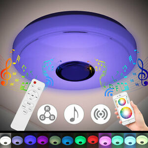 70W Smart LED Ceiling Light Lamp RGB bluetooth Music Speaker Dimmable APP Remote