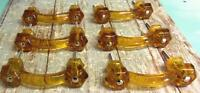 Set Of 6 Glass Drawer Pulls Honey Amber Handles Vintage Style 3 Centers