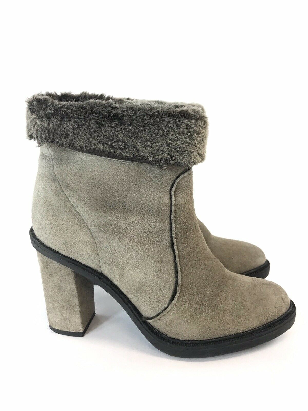 Zara Ladies Grey Leather Suede Ankle Pull On  High Heels Soft Fur Boots Sz UK4