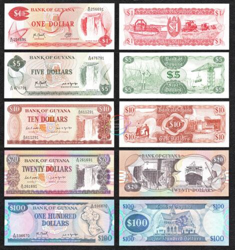 GUYANA 1 5 10 20 100 Dollars Set 5 PCS 1983 1989 P 21 22 23 27 28 UNC