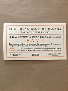 The-Royal-Bank-Of-Canada-Savings-National-Duty-Card-Joint-Accounts-Paper-E84