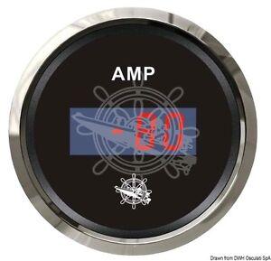 "OSCULATI Digital Ammeter Gauge 52mm 2"" -80/+80 Amp Black/Glossy"
