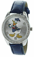 Disney Donald Duck Watch With Stone Bezel and Genuine Leather Strap - DD007-L61