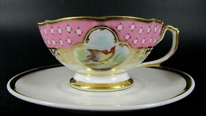 French-Antique-Old-Paris-Porcelain-Cabinet-Tea-Cup-and-Saucer-Birds-Hand-Painted