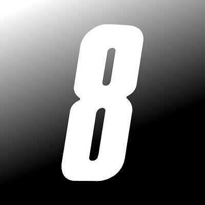 8 inch tall White Race Number 0 racing numbers decals motocross atv dirt bike