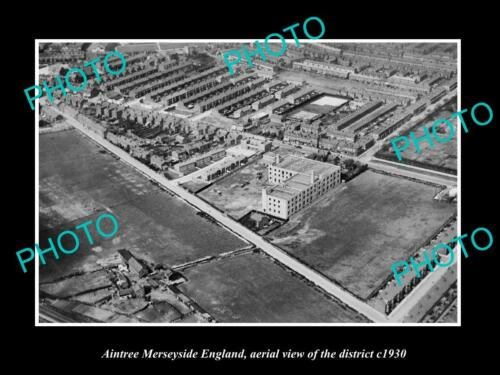 OLD LARGE HISTORIC PHOTO AINTREE MERSEYSIDE ENGLAND, DISTRICT AERIAL VIEW c1930