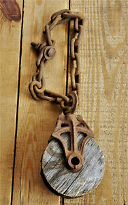 Metal Barn Pulley Cast Iron set of 2 used