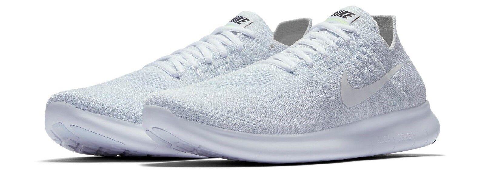 Nike Free RN Flyknit 2017 White Pure PLT 880844 100 Women's Running shoes SZ 11