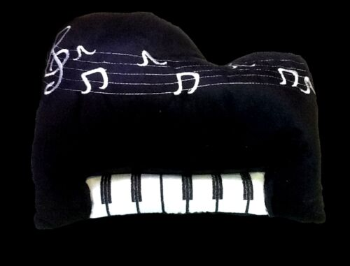 New EMBROIDERED PIANO KEYBOARD CUSHION 35 x 30cm PLUSH STUFFED DECORATIVE TOY