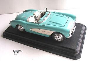 Diecast-Metal-Burago-Chevrolet-Corvette-1957-Friction-Toy-Car-Light-Blue