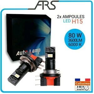 2x-Ampoules-LED-H15-phare-feux-route-80W-3800LM-6000K-NEUF