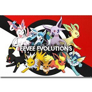 Silk Poster Wall Decor Art Print Pokémon Evolutions