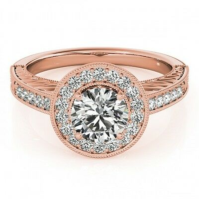 3004. 1.5 CTW Certified VS/SI Diamond Bridal Solitaire Halo Ring 18K Rose ... Lot 3004