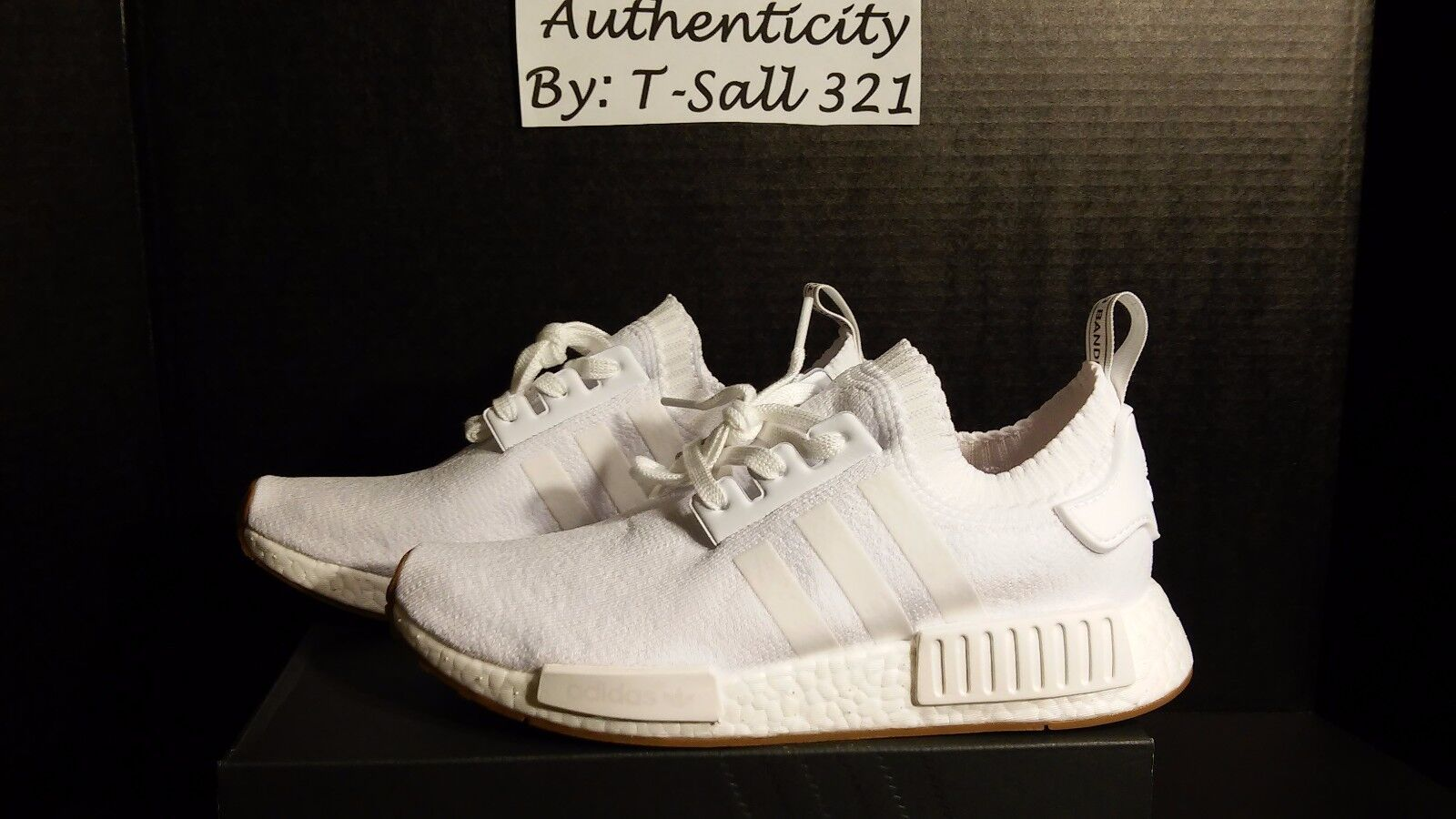 Adidas Nmd R1 PK White/Gum bottom size 9 US men's