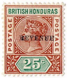 I-B-British-Honduras-Revenue-Duty-25c-overprint-error