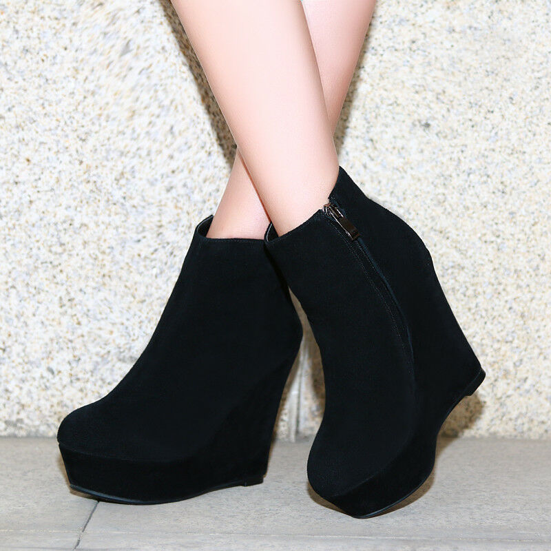 Leather Womens Platform Wedge High Heels Ankle Boots Fashion Nightclub New shoes