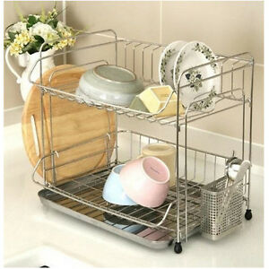 stainless 2 tier dish drying rack drainer dryer tray cutting board storage new ebay. Black Bedroom Furniture Sets. Home Design Ideas