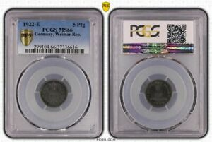5 Pfennig 1922 E Brilliant Uncirculated PCGS Certified MS66 (36800)