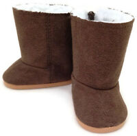 Brown Suede Boots Shoes With Fur Lining Made For 18 American Girl Doll Clothes