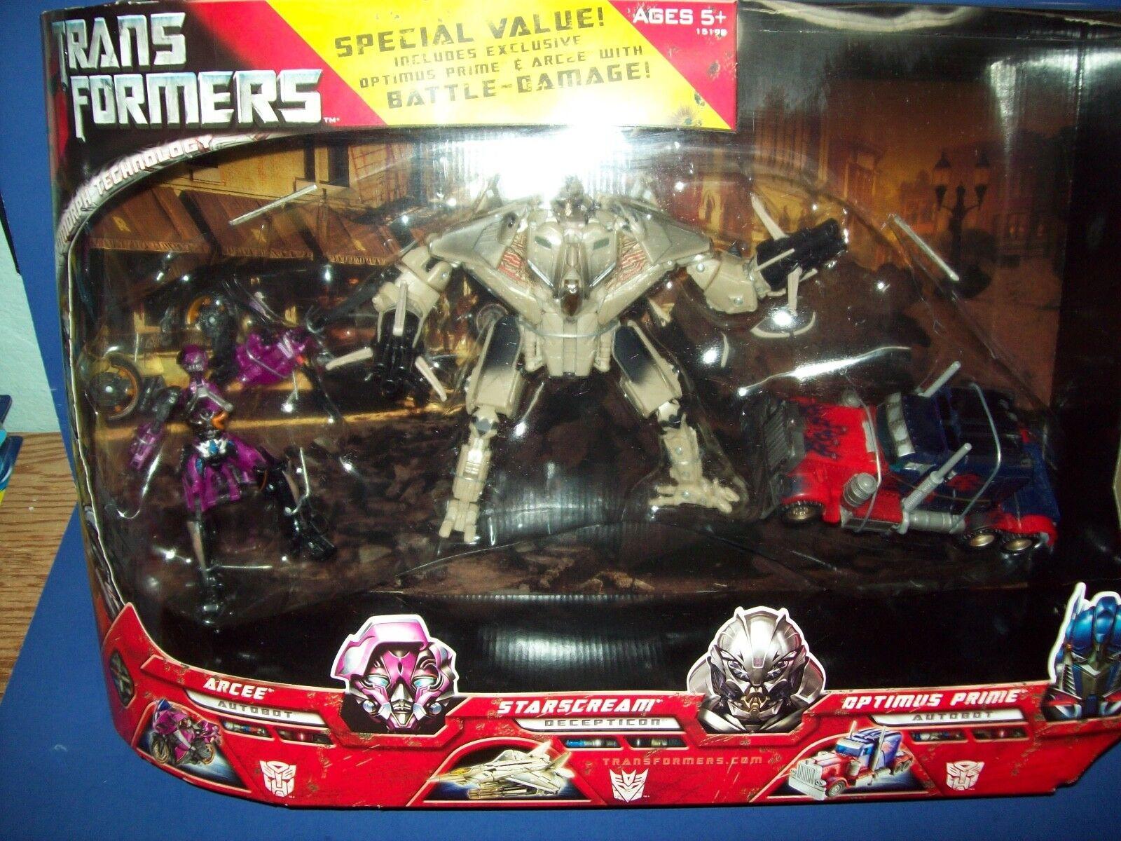 Transformers 2007 Film 3-figure Confezione Starscream Arcee Optimus Prime Nuovo