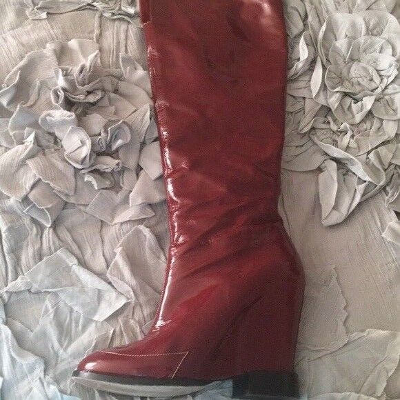 CHLOE knee boots patent wedge high heels 1970s  US 6 wore 3 times red