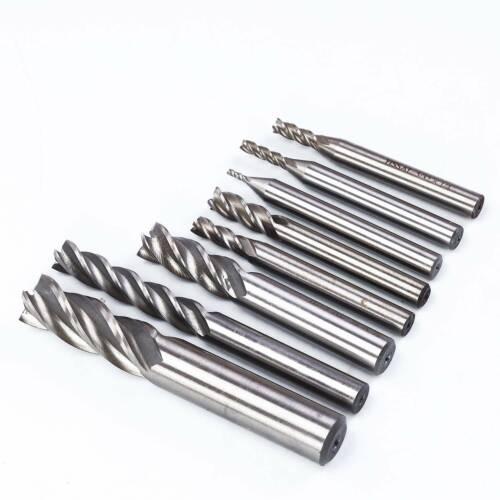8 Pcs 4 Flute End Mill High Speed Steel Cutter CNC Drill Bit Tools USA