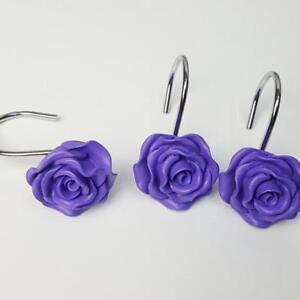 Resin-Shower-Curtain-Hooks-Rose-Flower-Rolling-Rings-Decorative-W