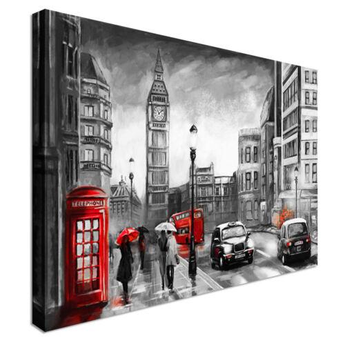 London Rain black white red  Canvas Wall Art Picture Print
