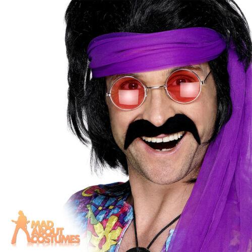 70s Self Adhesive Tash Black Mens Fancy Dress Outfit Moustache Accessory