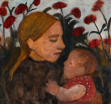 Girl with child Paula Modersohn-Becker Mutter Kind Mohnblumen Baby B A3 03049