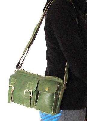Damen Antik luxus echt Leder Schultertasche Crossbody Bodybag Used`Look grün
