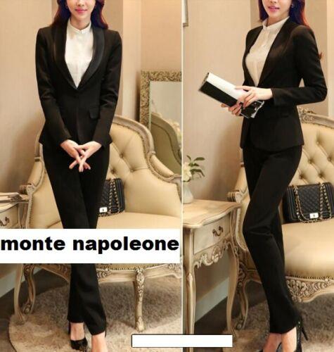 Tailleur completo donna nero giacca a manica lunga e pantalone cod 7047