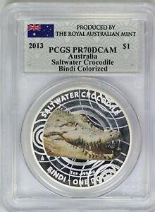 2013 PCGS $1 Royal Australian Mint Saltwater Crocodile Bindi Colorized PR70DCAM