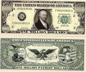 1-Million-Patriot-Dollars-2003-Novelty-Money-Collectors-Fun-Item-Stocking-Filler