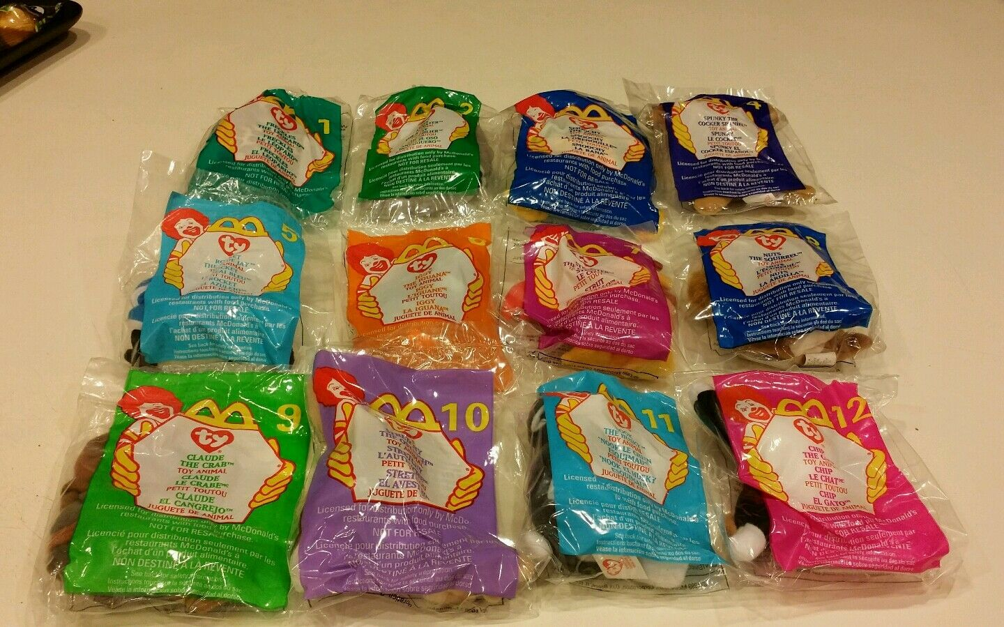 McDonald's 1999 Ty Teenie Beanie Babies, Complete Set Of 12, New & Sealed