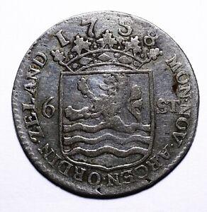 1758-Dutch-Republic-Zeeland-Six-6-Stuivers-034-Scheepjesschelling-034-Lot-800
