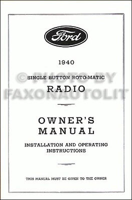 ford radio owners manual  installation guide