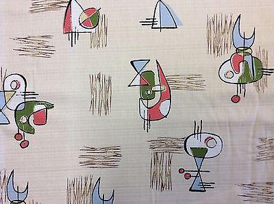 Atomic Retro Barkcloth Boomerang Sputnik MCM Mid Century Mod Cotton Fabric NT40