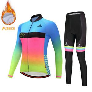 Women/'s Fleece Cycling Kit Thermal Winter Bicycle Pants and Long Sleeve Jersey