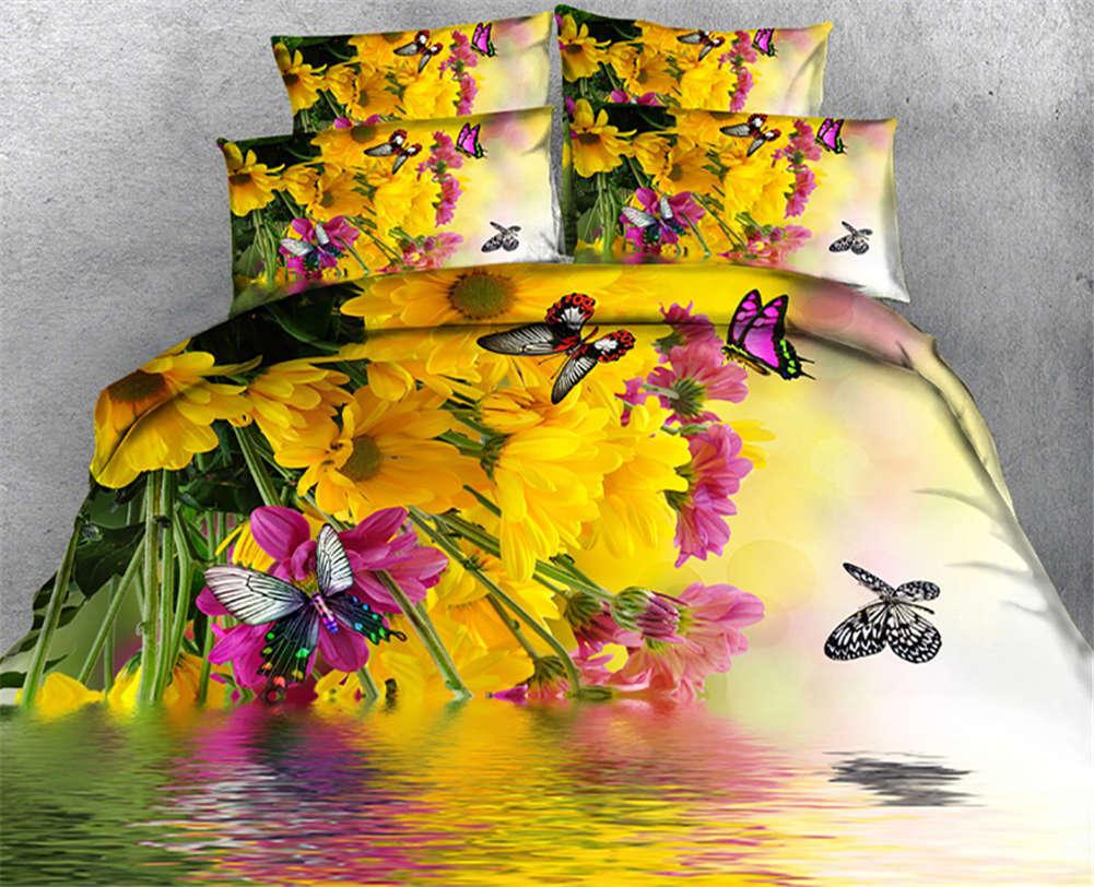 Butterfly Leaves 3D Druckening Duvet Quilt Will Startseites Pillow Case Bettding Sets
