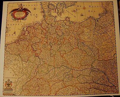 Hist. Landkarte Germania Deutschland Ostpreußen, Schlesien, Böhmen, 1658 Attraktiv Und Langlebig