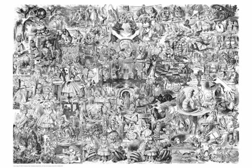 24x36 SHRINK WRAPPED DRAWING 2900 COLLAGE ART POSTER ALICE IN WONDERLAND